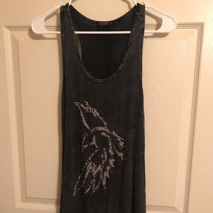T Party Dark Grey Long Tank top with Eagle